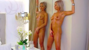 Oily Blond Goddess Pleaures Herself At The Mirror